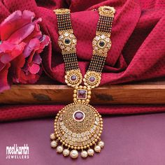 Gold Temple Jewellery, Fancy Jewellery, Gold Jewellery Design, Bead Jewellery, Gold Jewelry, Jewelery, Bridal Jewellery Inspiration, Bridal Jewelry, Gold Mangalsutra Designs