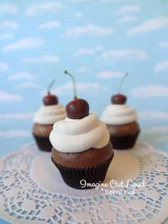 Fake Cupcake Chocolate Covered Cherry on Cream Kitchen Decor food Prop Display by ImagineOutLoud on Etsy https://www.etsy.com/ca/listing/476808540/fake-cupcake-chocolate-covered-cherry-on