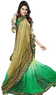 Vogue and pattern could be on peak of your beauty after you attire this beige and green color faux georgette printed sari. This engaging saree is displaying some extraordinary embroidery done with block print and lace work. Upon request we can make round front/back neck and short 6 inches sleeves regular saree blouse also.  #LatestBeigeAndBottaleGreenSaree