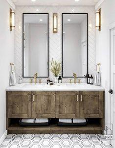 Reclaimed Wood Vanity, Conceptual Design, Marble Floor, Interior Design Studio, Small Bathroom, Bathroom Ideas, Bathrooms, Master Bath, New Homes