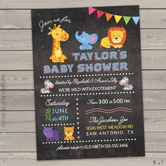 zoo animal baby shower invitations, jungle animal baby shower invites, safari baby shower, giraffe elephant zebra lion digital or printed by FortunateInvite on Etsy https://www.etsy.com/listing/385443102/zoo-animal-baby-shower-invitations