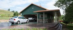 This garage was built for Kimberly of Knoxville, TN Special Features: Morton& Hi-Rib™ Steel Cupola Porch Windows w& Shutters Fibersteel. Building A Pole Barn, Metal Building Homes, Metal Homes, Building A House, Metal Garage Buildings, Metal Garages, Garage With Living Quarters, Loft Door, Porch Windows