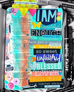 Illustrated Faith Art Bible Journaling by redhedtm #bible #journal #biblejournaling #journalingbible #illustratedfaith #artjournal #art #journaling #redsjab  #createdtocreate I Am Enough