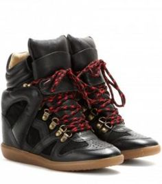 ISABEL MARANT Buck Leather And Suede Concealed Wedge Sneakers