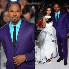 A unique style of his own I love this Purple suit and the light blue shirt  Jamie Foxx and Kerry Washington London Django Premiere