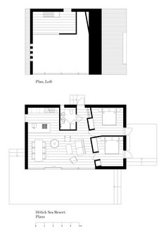 floor plans of the modern cabins at the Hölick Sea Resort B.P Note - Bathroom would be a pantry with washer and dryer, second bedroom would be a bathroom with a closet The Plan, How To Plan, Granny Pods, Resort Plan, Basement Layout, Backyard Cottage, Cabin Floor Plans, Weekend House, Small House Plans
