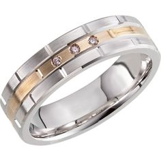 14 kt white and yellow gold band, 6mm in width, .03 CTW. Weight: 9.52 grams BEL651398