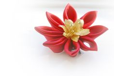 Red Hair Flower - Red Fascinator - Red and Gold Silk Fascinator £16.00