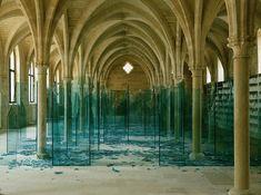 """""""Sea of Broken Glass"""", Claudio Parmiggiani Location: Le College des Bernardins Broken Glass Art, Shattered Glass, Sculptures Céramiques, Art Sculpture, Robert Morris, Rue Mouffetard, Modern Art, Contemporary Art, Glass Installation"""