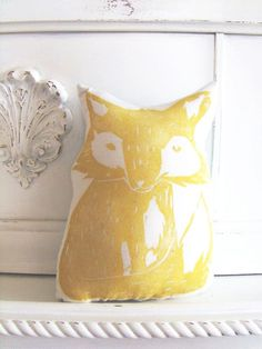 Plush Fox Pillow in Yellow. Woodblock Printed. Customizable Colors. Made to Order.. $16.50, via Etsy.