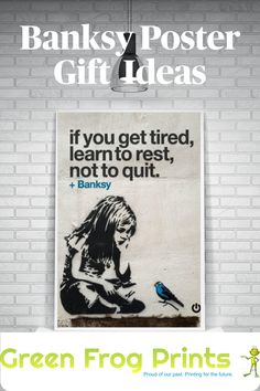 A collection of popular Banksy wall art printed posters and other similar graffiti- style, street-art designs. Don't see what you're looking for? Ask us and if we don't have it...we will create it! These make great #Christmasgifts or #stockingstuffers for any #banksy fan! #graffiti #graffitiart #streetart #graffitigifts #banksyfans #banksyart #banksyposters #banksyprints #banksygiftideas #girlwithredballon #streetartposters #graffitiartposters #streetartist #posters #prints #giftidea #art