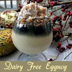 This dairy free eggnog is a delightful and much healthier version of the classic holiday drink. Dairy and coconut free suggestions available, too.