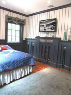 baseball bedroom for teen boy - New York Yankees Bedroom Decor