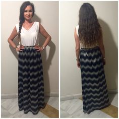 maxi skirt summer dress zig zag black white by AmathusiaBoutique