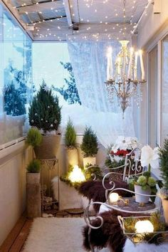 Gorgeous Apartment Balcony Design Ideas With Perfect Lighting - Would you not fancy a crisply decorated balcony that can be a great entertaining, cozy place midst verdant plants and shimmering sunset? Behold and lo. Small Porch Decorating, Apartment Balcony Decorating, Apartment Balconies, Cozy Apartment, Apartment Design, Decorating Ideas, Decor Ideas, Apartment Ideas, Apartment Walls