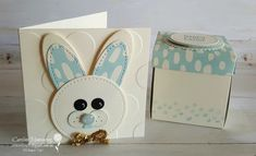 Art with Heart Easter blog hop. Here is the blue version of my little bunny note card with matching explosion box.