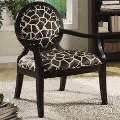 Louis Style Animal Print Accent Chair with Exposed Wood Arms by Coaster 900214 | eBay