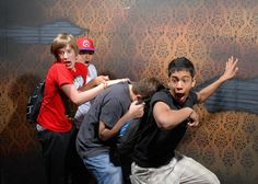 Haunted house with hidden cameras. Lots of funny pictures of guys (some girls) getting scared!! Hilarious!!!