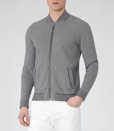 Mens Grey Jacquard Knitted Jacket - Reiss Serona