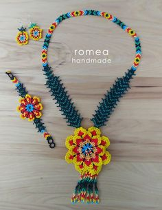 Items similar to SET Necklace, Ring, Earrings 3 D Flower - Huichol Art - Beaded Necklaces - Romea Accessories - Made in Mexico - Boho - Trendy - on Etsy Flower Bracelet, Flower Necklace, Boho Necklace, Beaded Earrings, Beaded Bracelets, Ring Earrings, Necklace Set, Huichol Art, 3 D