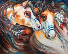 M BALDWIN ORIGINAL OIL PAINTING INDIAN WAR HORSES BRAVEHEARTS ~ MARCIA BALDWIN