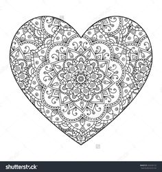Find Vector Drawing Heart Mandala Pattern Isolated stock images in HD and millions of other royalty-free stock photos, illustrations and vectors in the Shutterstock collection. Heart Coloring Pages, Adult Coloring Book Pages, Printable Adult Coloring Pages, Coloring Pages To Print, Colouring Pages, Coloring Books, Mandala Pattern, Mandala Design, Pattern Art