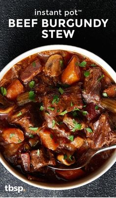 Instant Pot™ Beef Burgundy Stew Sure, you could labor over beef burgundy stew for hours like most recipes call for. Or you could make this easy hands-off Instant Pot™ version that's ready with less time and less effort. Both techniques result in dinner th Beef Steak Recipes, Beef Recipes For Dinner, Instant Pot Dinner Recipes, Beef Meals, Beef Tips, Cooking Beef, Cooking Tips, Instant Recipes, Chicken Recipes
