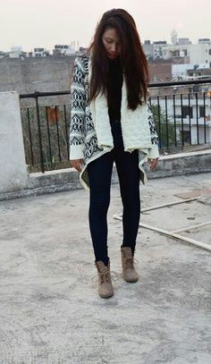 Shawl collar Cardigan.  Black and white.  To buy drop a comment