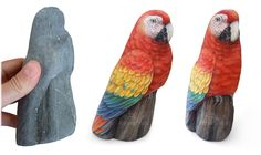 This macaw is definetely one of the most amazing painted rocks I've ever done. It may seem crazy, but I can swear that the stone I used was not altered at all. When I saw it on the beach I felt a kind of shock, it's so rare to find such a beautiful treasure!  The lower area on which I painted the perch seems literally separated from the rest. The bird is perfectly proportioned, painted on both sides and already SOLD.  To place your custom order please visit my Etsy shop…