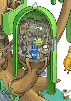 Какое сейчас Время? Время Разрезаний! Если вам было интересно строение дома Финна и Джейка из Времени Приключений, то вот он дом во всей красе! Детальная иллюстрация Деревянного Форта в разрезе, показывающая как жилые комнаты, так и секреты с заброшенными помещениями. А также с любимыми персонажами…
