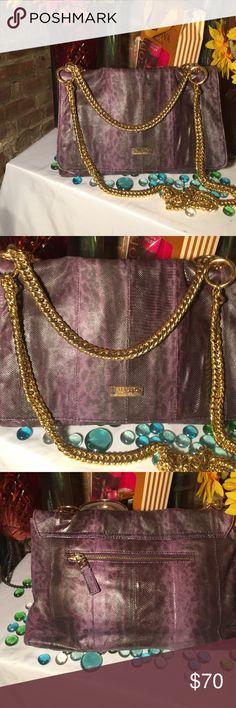 Halston Heritage Bag Halston Shoulder Bag-Sz 9x13- Snakeskin leather- Double Gold chain- Purple color- Very nice bag. Halston Heritage Bags Shoulder Bags