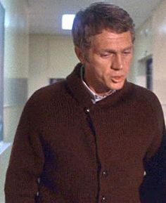 """I watched Bullit about a year ago. I admit that I'd only ever watched one Steve McQueen movie before and I didn't really """"get"""" him as a movie star. then I saw him being a badass in this cardigan. Damn. Badass in a cardigan. Who knew?"""