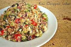 A Raw Chopped Salad that has the vegetables to keep your energy high and your food cravings low.
