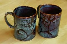 leaves etched on a cup - for your next ceramics project @Lauren Ashcraft