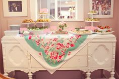 desserts on vintage buffet   and tablecloth - now I just need to find that vintage buffet