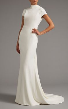 High Neck Cap Sleeve Gown with Open Back by Elizabeth Kennedy