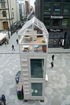 head architect marco casagrande of casagrande laboratory has installed a micro-apartment building in a bustling helsinki square. Off Grid Tiny House, Tiny House Cabin, Micro House, Tiny House Living, Tiny House Plans, Tiny House Design, House Floor Plans, Micro Apartment, Casa Retro