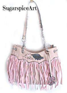 Yorkie Fringe Hand Painted Hue & Ash Handbag Purse Shoulderbag SugarspiceArt