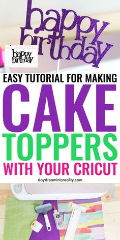 Today you are going to learn how to make the most gorgeous cake toppers with your Cricut (Maker or Explore) for any occasion. Learn how to make them from scratch and print out over SVG cake topper templates that will suit all your crafting needs. Cricut Explore Projects, Cricut Explore Air, Vinyl Projects, Cricut Craft Room, Cricut Vinyl, Cricut Cake, Cricut Tutorials, Cricut Ideas, Cricut Creations