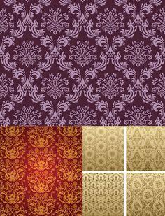 Seamless Victorian patterns vector