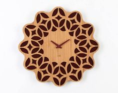Retro 60s Floral Wall Clock . Brown