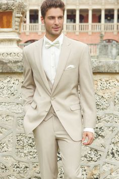 The tan allure tux is perfect for spring and summer weddings