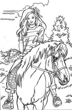 Barbie Doll Riding Horse Coloring Page
