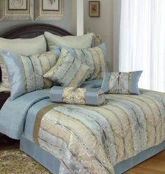 Traditional American Style Blue And Brown Comforter Set With - Blue and brown damask comforter