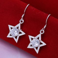 Charming Sliver Plated Crystal Star Hoop Earrings for Wedding Gift