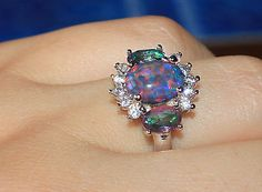 fire opal Cz topaz ring gemstone silver jewelry Sz 8 chic cocktail style M76