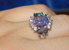 fire opal Cz topaz ring gemstone silver jewelry Sz 8 chic cocktail style M76