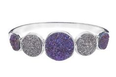 Purple and Grey Platinum Drusy Sterling Silver Bangle
