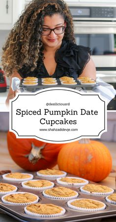 Welcome fall with these soft, moist and reduced sugar spiced pumpkin date cupcakes - a perfect snack or make-ahead breakfast option.