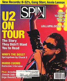 U2, spin - Volume 8, Number 4 July 1992 USA magazine #bono #theedge #larrymullen #adamclayton #u2 #music #rock